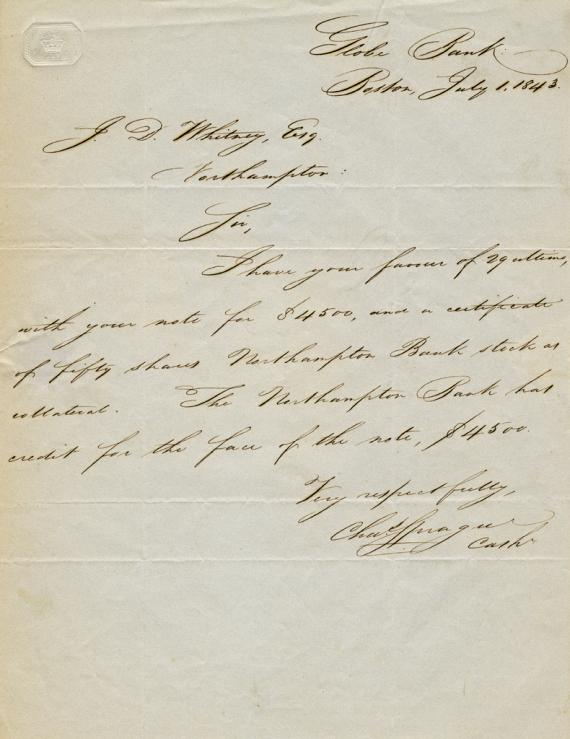 Autographed letter of Charles Sprague