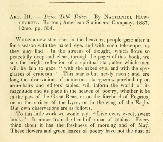 "Image of Longfellow's ""Review of Twice Told Tales"""