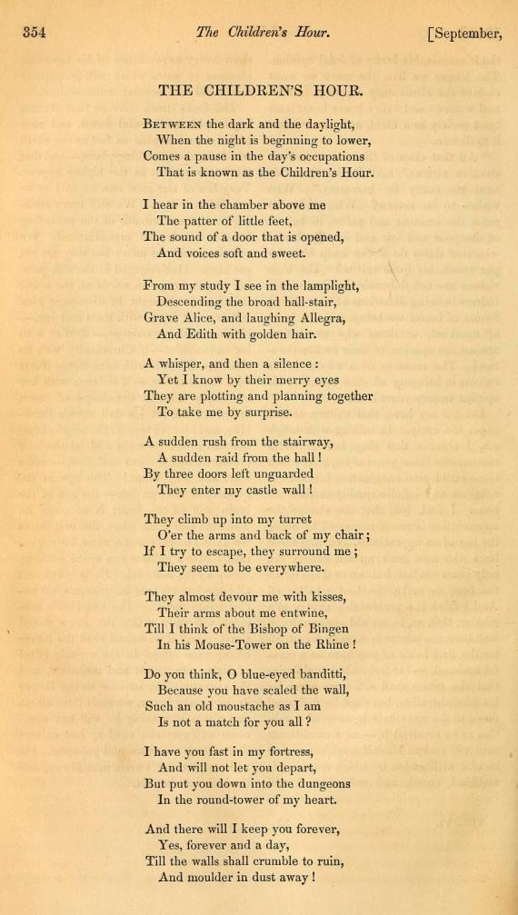 Image of The Childrens's Hour Poem