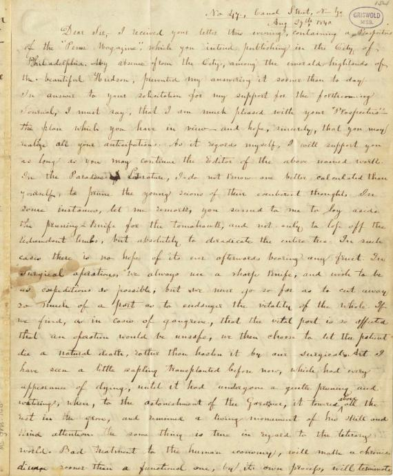 Image of letter from Thomas H. Chivers to Edgar Allan Poe (transcript below)