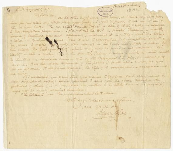 Image of letter from Edgar Allan Poe to Rufus Wilmot Griswold (transcript below)