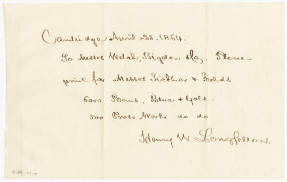 Image of note from Henry Wadsworth Longfellow to Welch and Bigelow