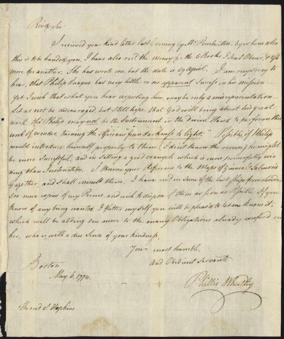 Image of Phillis Wheatley Letter